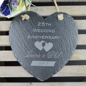 Wedding Anniversary Personalised Heart Slate - room decorations
