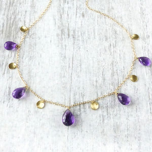 Amethyst Petals Necklace In 18ct Yellow Gold
