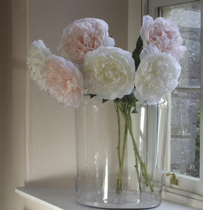 Pale Pink And Ivory Faux Peony Stem - artificial flowers
