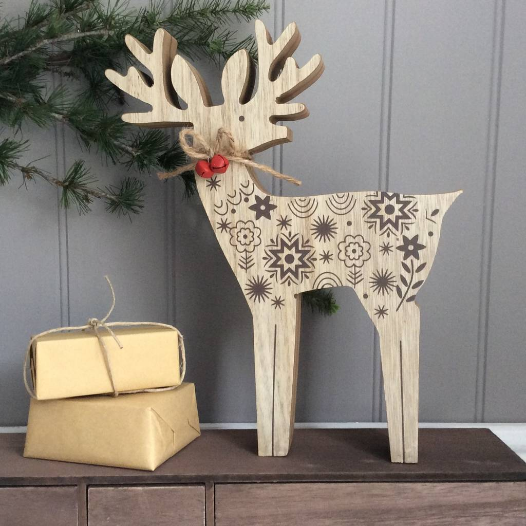 carved wooden reindeer christmas decoration - Wooden Deer Christmas Decorations