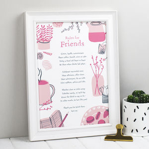 Rules For Friends Personalised Print