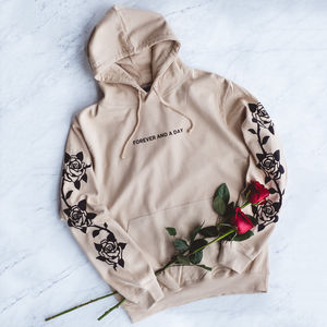 'Forever And A Day' Sand Hoody With Rose Sleeves