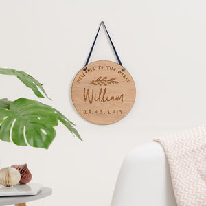 Personalised New Born Wooden Plaque