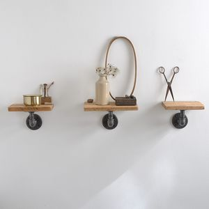 Set Of Three Reclaimed Wood Pipe Shelves - shelves