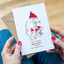 Personalised Daddy Bear And Cubs Christmas Card