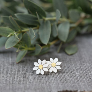 Dahlia Flower Earrings In Solid Silver And 18ct Gold