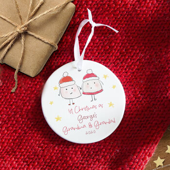 Personalised 1st Christmas As Grandparents Tree Bauble