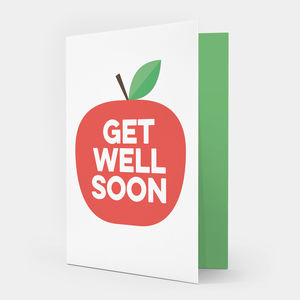 Red Apple Get Well Soon Card - get well soon cards