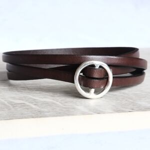Personalised Leather Round Buckle Wrap Bracelet