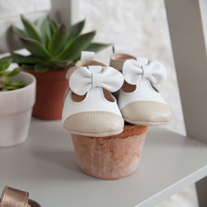 Matilda Two Tone Occasion Baby Shoes With Bow Detail - christening wear