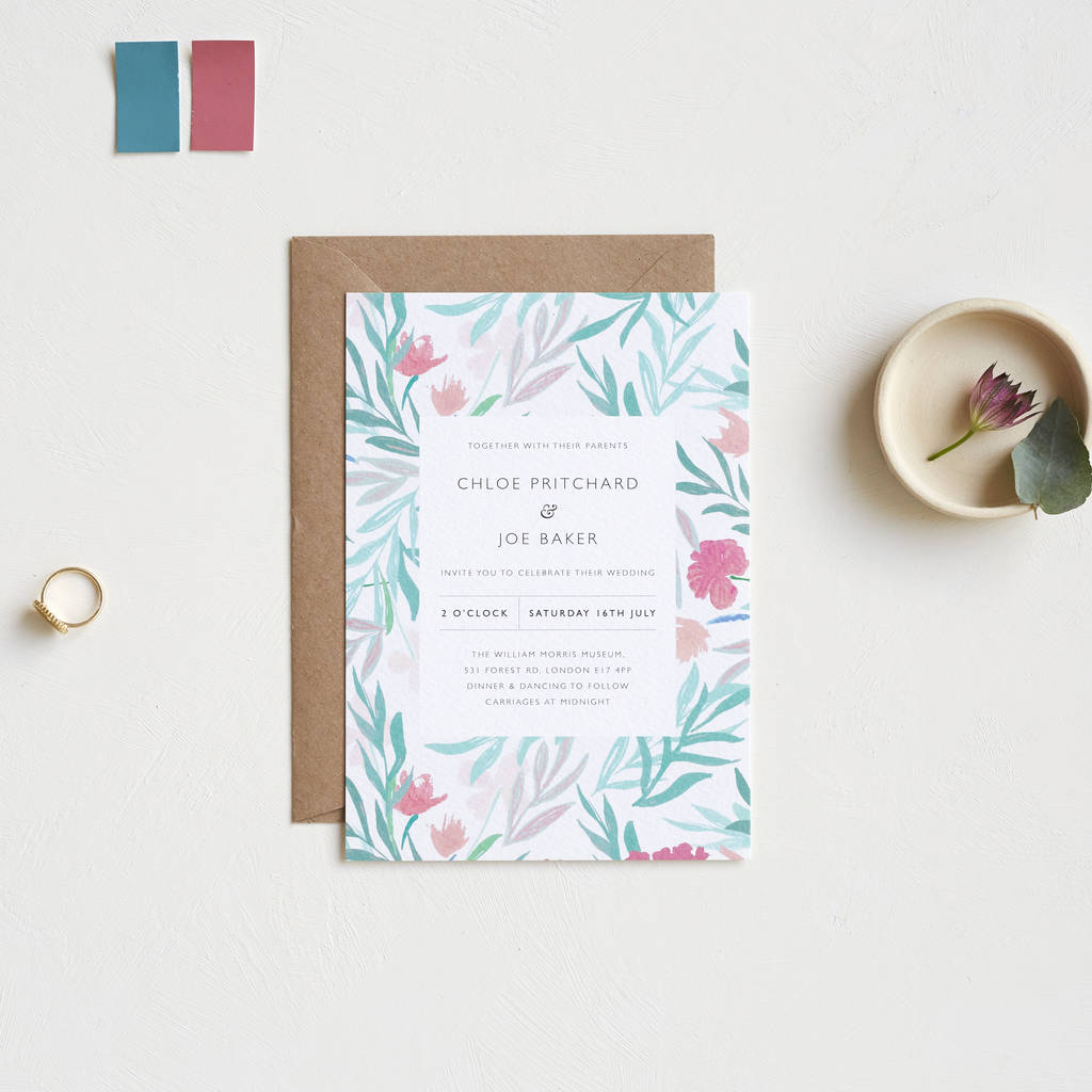 jungle flower wedding invitations by studio sophie