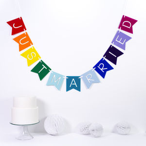 Personalised Rainbow Wedding Banner - room decorations