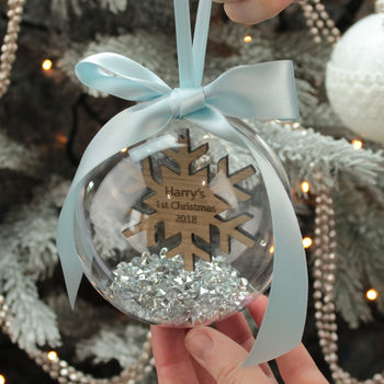 Personalised Snowflake First Christmas Bauble