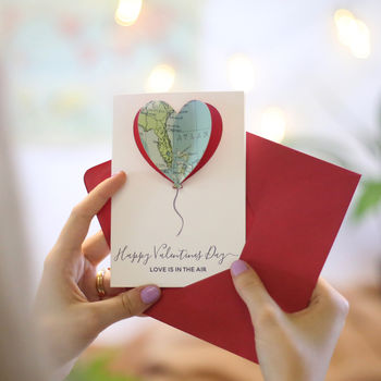 map balloon valentine's card with envelope