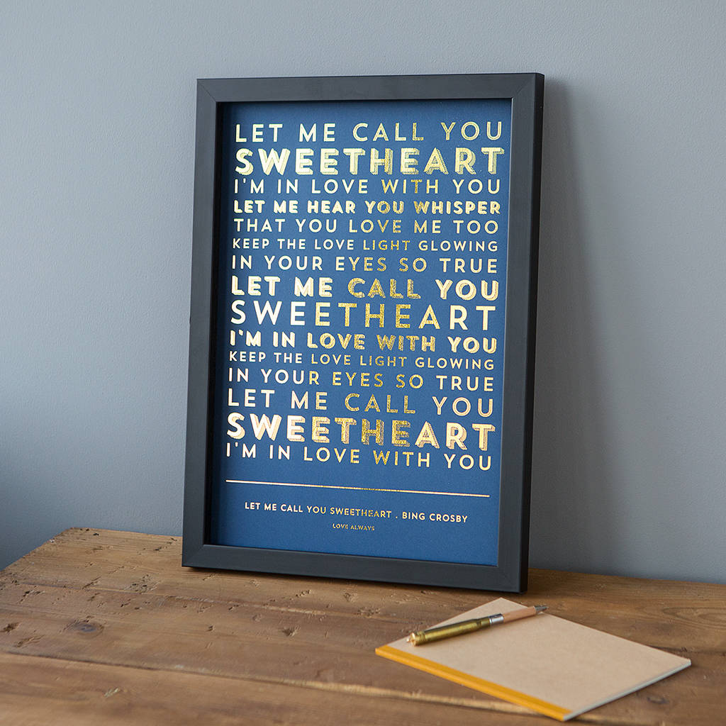 1st wedding paper anniversary gifts notonthehighstreet metallic song lyrics or poem print posters prints solutioingenieria Image collections