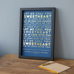 Metallic Song Lyrics Or Poem Print - gifts for mothers