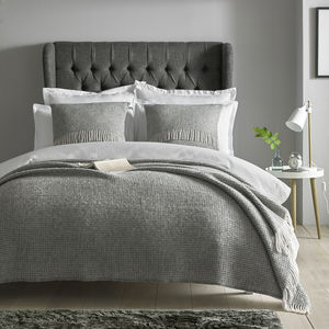 Extra Large Grey Woven Wool Throw - bedspreads & quilts