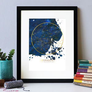 Navy And Gold Personalised Star Map Print - dates & special occasions