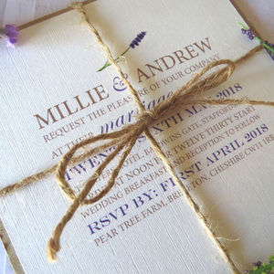Lavender Watercolour Wedding Stationery - order of service & programs