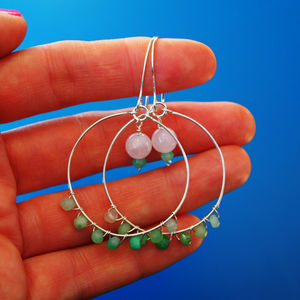 Beaded Quartz Hoops - earrings