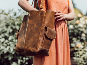 Leather Tote Handbag - shoulder bags