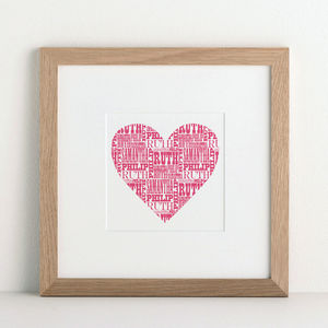 Coloured Name Heart Print