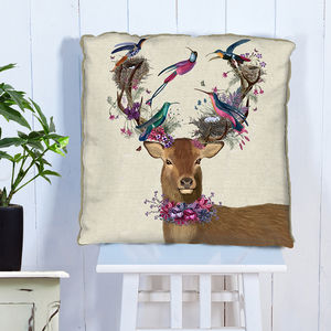 Deer And Tropical Birds Decorative Cushion - patterned cushions