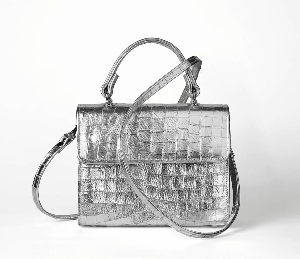 Silver Metallic Faux Croc Leather Handbag