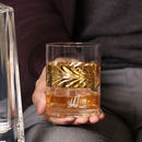 Personalised Gold Leaf Etched Botanical Whisky Tumblers