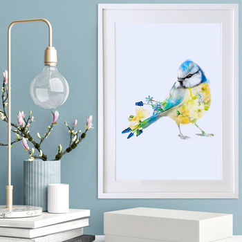 Blue Tit Wildlife Botanical Art Print
