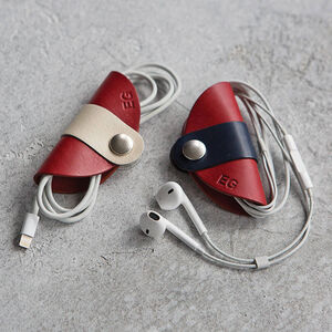 Personalised Leather Cable And Headphone Organisers Set