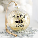 Personalised Mr And Mrs Wedding Christmas Bauble
