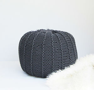 Round Ribbed Cord Pouf