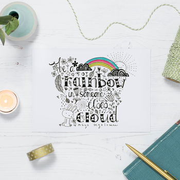'Be A Rainbow' Inspirational Quote Postcard Or Card