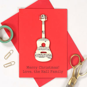 Personalised Music Lover Instrument Christmas Card - cards