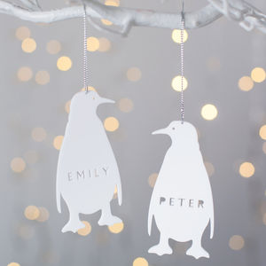 Personalised Penguin Christmas Decoration - tree decorations