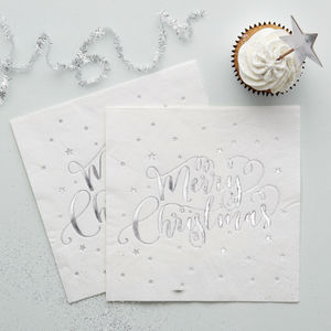 Metallic Silver Foiled Merry Christmas Napkins - party tableware