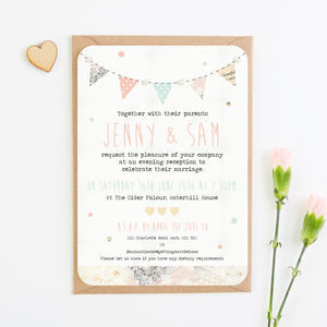 Floral Patchwork Bunting Pearl Evening Invitation - wedding stationery