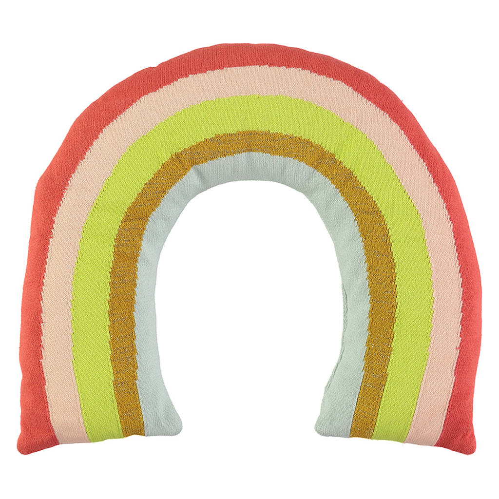 Organic Knitted Rainbow Cushion