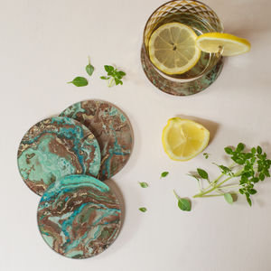 Green Marbled Coasters Set Of Four - kitchen