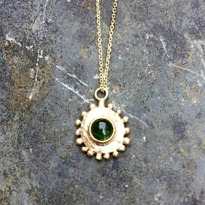 Sun Pendant 9ct Yellow Eco Gold With Gemstone - what's new