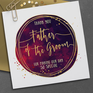 Personalised Father Of The Bride Watercolour Card - best man & usher cards