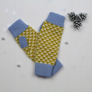 Triangle Knitted Fingerless Mitts In Piccalilli / Blue - gloves
