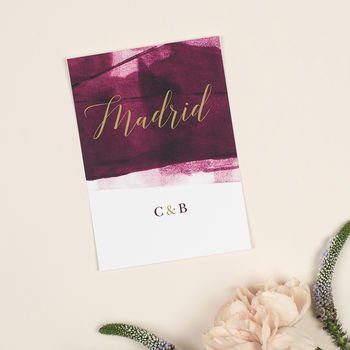 Berry And Gold 'Grace' Wedding Table Name Cards