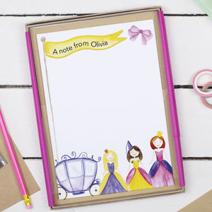 Personalised Princess Children's Writing Set - notelets & writing paper
