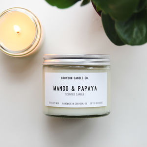 Mango And Papaya Scented Jar Soy Candle - candles & home fragrance
