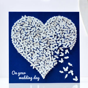 Wedding Congratulations White Butterfly Heart Card