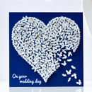 Wedding Butterfly Heart Card, White Wedding Card