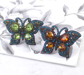 Large Statement Crystal Butterfly Ring