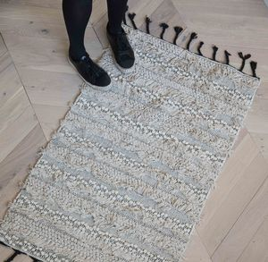 Cream Berber Runner Rug With Black Tassels - rugs & doormats